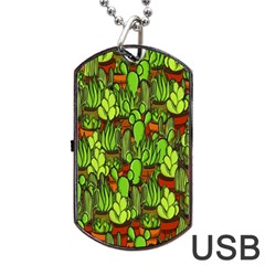 Cactus Dog Tag Usb Flash (one Side) by Valentinaart