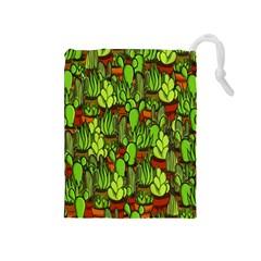 Cactus Drawstring Pouches (medium)  by Valentinaart