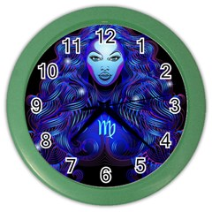 Sign Virgo Zodiac Color Wall Clocks by Mariart