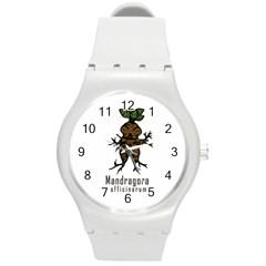 Mandrake Plant Round Plastic Sport Watch (m) by Valentinaart