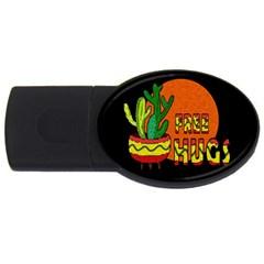 Cactus   Free Hugs Usb Flash Drive Oval (4 Gb) by Valentinaart