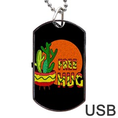 Cactus   Free Hugs Dog Tag Usb Flash (two Sides) by Valentinaart