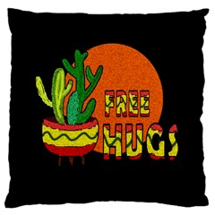 Cactus   Free Hugs Large Cushion Case (one Side) by Valentinaart