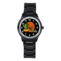 Cactus   Free Hugs Stainless Steel Round Watch by Valentinaart
