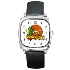 Cactus   Free Hugs Square Metal Watch by Valentinaart