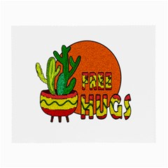 Cactus   Free Hugs Small Glasses Cloth (2 Side) by Valentinaart