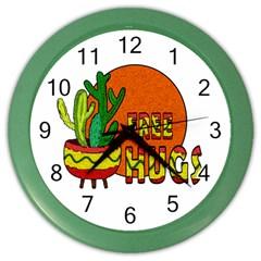Cactus   Free Hugs Color Wall Clocks by Valentinaart