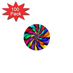 Star Flower Color Rainbow 1  Mini Magnets (100 Pack)  by Mariart