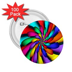 Star Flower Color Rainbow 2 25  Buttons (100 Pack)  by Mariart