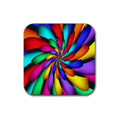 Star Flower Color Rainbow Rubber Square Coaster (4 Pack)  by Mariart