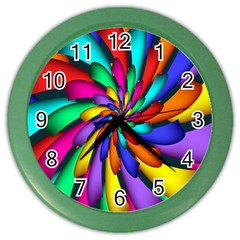 Star Flower Color Rainbow Color Wall Clocks by Mariart
