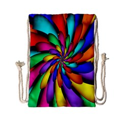 Star Flower Color Rainbow Drawstring Bag (small) by Mariart
