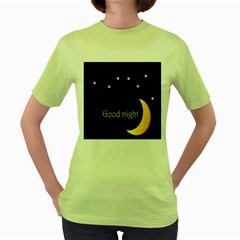 Star Moon Good Night Blue Sky Yellow Light Women s Green T Shirt by Mariart