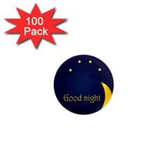 Star Moon Good Night Blue Sky Yellow Light 1  Mini Magnets (100 Pack)  by Mariart