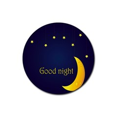 Star Moon Good Night Blue Sky Yellow Light Rubber Round Coaster (4 Pack)  by Mariart