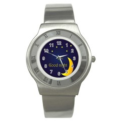 Star Moon Good Night Blue Sky Yellow Light Stainless Steel Watch by Mariart