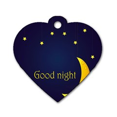 Star Moon Good Night Blue Sky Yellow Light Dog Tag Heart (two Sides) by Mariart