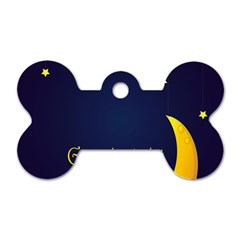 Star Moon Good Night Blue Sky Yellow Light Dog Tag Bone (two Sides) by Mariart