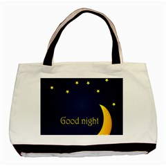 Star Moon Good Night Blue Sky Yellow Light Basic Tote Bag (two Sides) by Mariart
