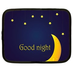 Star Moon Good Night Blue Sky Yellow Light Netbook Case (large) by Mariart