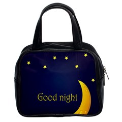 Star Moon Good Night Blue Sky Yellow Light Classic Handbags (2 Sides) by Mariart