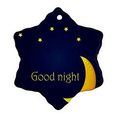Star Moon Good Night Blue Sky Yellow Light Ornament (snowflake) by Mariart
