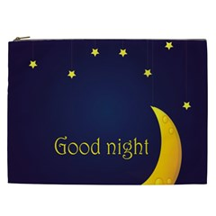 Star Moon Good Night Blue Sky Yellow Light Cosmetic Bag (xxl)  by Mariart