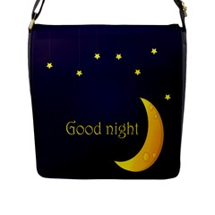 Star Moon Good Night Blue Sky Yellow Light Flap Messenger Bag (l)  by Mariart
