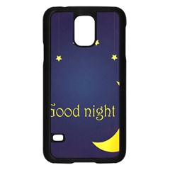 Star Moon Good Night Blue Sky Yellow Light Samsung Galaxy S5 Case (black) by Mariart