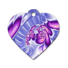 Space Stone Purple Silver Wave Chevron Dog Tag Heart (one Side) by Mariart