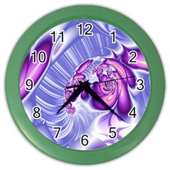 Space Stone Purple Silver Wave Chevron Color Wall Clocks by Mariart