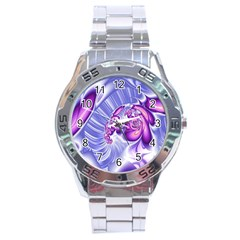Space Stone Purple Silver Wave Chevron Stainless Steel Analogue Watch by Mariart