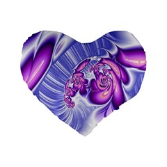 Space Stone Purple Silver Wave Chevron Standard 16  Premium Flano Heart Shape Cushions by Mariart