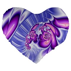 Space Stone Purple Silver Wave Chevron Large 19  Premium Flano Heart Shape Cushions by Mariart