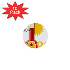 Thermometer Themperature Hot Sun 1  Mini Buttons (10 Pack)  by Mariart