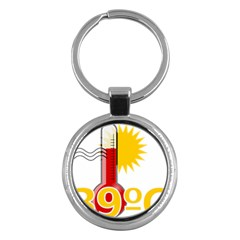 Thermometer Themperature Hot Sun Key Chains (round)  by Mariart