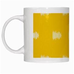 Waveform Disco Wahlin Retina White Yellow White Mugs by Mariart