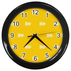 Waveform Disco Wahlin Retina White Yellow Wall Clocks (black) by Mariart