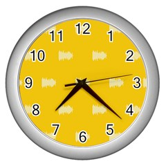 Waveform Disco Wahlin Retina White Yellow Wall Clocks (silver)  by Mariart