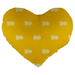 Waveform Disco Wahlin Retina White Yellow Large 19  Premium Flano Heart Shape Cushions by Mariart