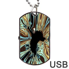 Silver Gold Hole Black Space Dog Tag Usb Flash (two Sides) by Mariart