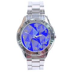 Wave Chevron Plaid Circle Polka Line Light Blue Triangle Stainless Steel Analogue Watch by Mariart
