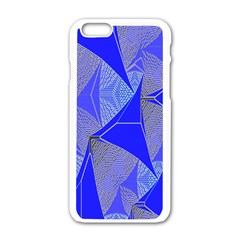 Wave Chevron Plaid Circle Polka Line Light Blue Triangle Apple Iphone 6/6s White Enamel Case by Mariart