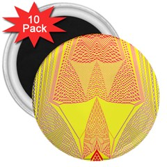 Wave Chevron Plaid Circle Polka Line Light Yellow Red Blue Triangle 3  Magnets (10 Pack)  by Mariart