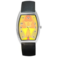 Wave Chevron Plaid Circle Polka Line Light Yellow Red Blue Triangle Barrel Style Metal Watch by Mariart