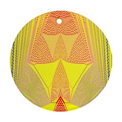 Wave Chevron Plaid Circle Polka Line Light Yellow Red Blue Triangle Round Ornament (two Sides) by Mariart