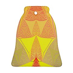 Wave Chevron Plaid Circle Polka Line Light Yellow Red Blue Triangle Bell Ornament (two Sides) by Mariart