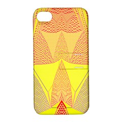 Wave Chevron Plaid Circle Polka Line Light Yellow Red Blue Triangle Apple Iphone 4/4s Hardshell Case With Stand by Mariart