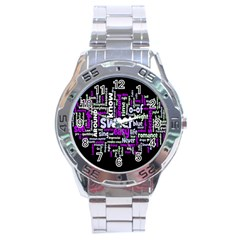 Writing Color Rainbow Sweer Love Stainless Steel Analogue Watch by Mariart