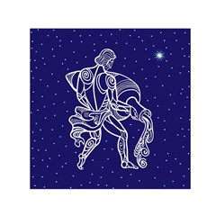 Aquarius Zodiac Star Small Satin Scarf (square) by Mariart